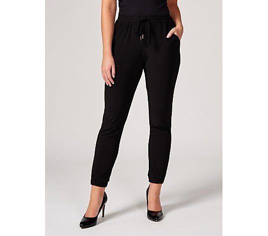 Matt Jersey Ankle Cuff Trousers with Pockets by Nina Leonard Regular