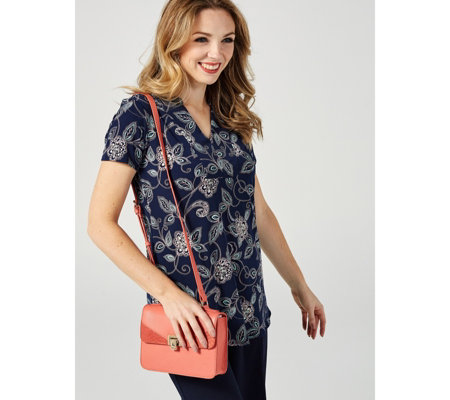 Short Sleeve Printed Tunic with Curved Hem by Nina Leonard