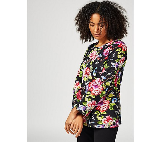 Artscapes Floral Print Fluted Sleeve Top