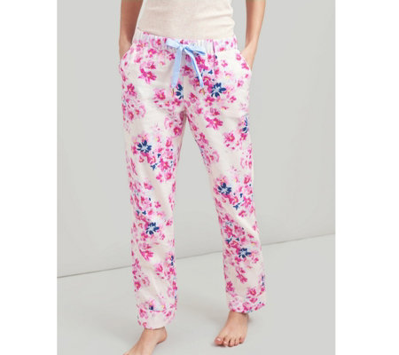 Joules Snooze Woven Pyjama Bottoms with Lace Detail