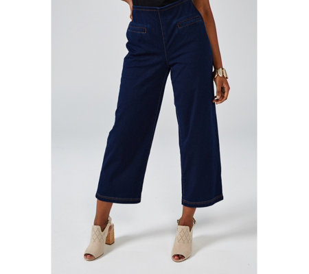 MarlaWynne Knit Denim Straight Leg Crop Trousers