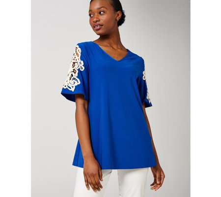 V Neck Flutter Elbow Sleeve Trapeze Tunic by Nina Leonard