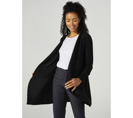 H by Halston Open Front Cascade Cardigan
