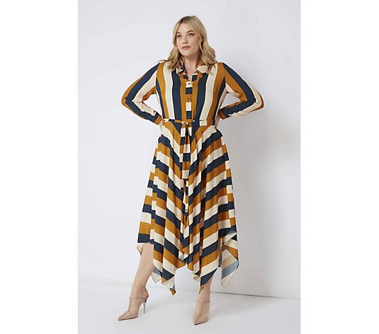Live Unlimited Striped Hanky Hem Shirt Dress