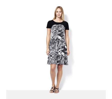Short Sleeve Printed Dress with Solid Yoke by Nina Leonard