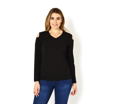 Liquid Knit Long Sleeve Cold Shoulder Top by Susan Graver