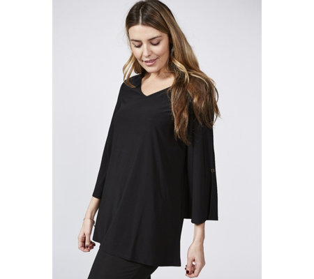 Antthony Designs V Neck Top with Sleeve Button Detail