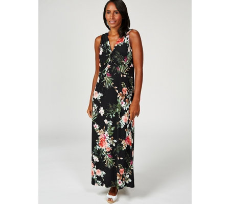 Kim & Co Brazil Jersey Twist Front Printed Maxi Dress Regular