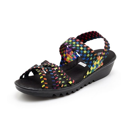 Adesso Flair Stretch Weave Multi Strap Wedge Sandal