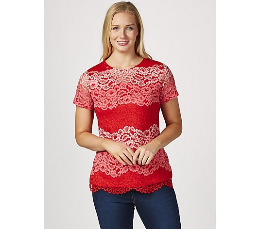 Isaac Mizrahi Live TriColour Scallop Lace Top with Jersey Back