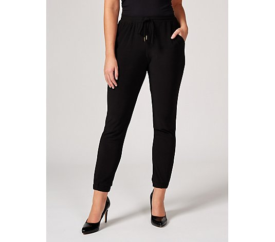 Matt Jersey Ankle Cuff Trouser with Pockets by Nina Leonard Petite