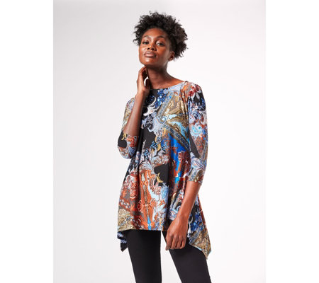 Attitudes By Renee Como Jersey Round Neck Printed Tunic