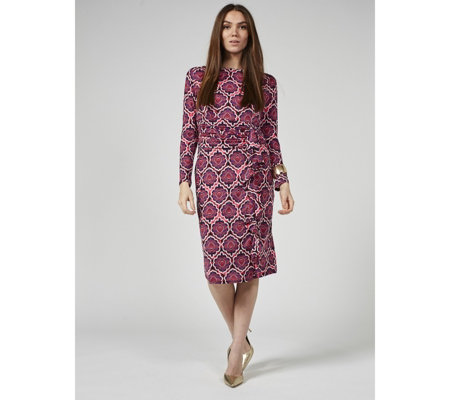 Lola Printed Ruffle Front Long Sleeve Dress by Onjenu London