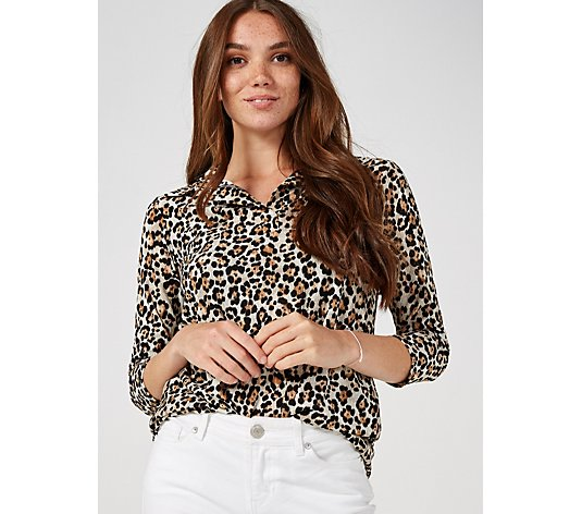 Attitudes By Renee Printed Tunic with Shirt Tail Hem