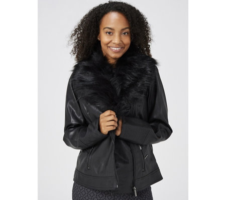 Dennis Basso Faux Leather Moto Jacket with Removable Faux Fur Collar