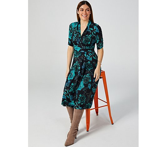 Perceptions Printed V Neck Elbow Sleeve Dress w/ Waist Gathering & Straight Hem