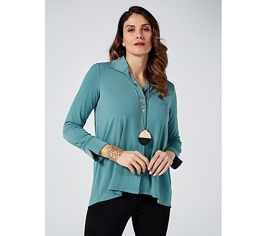 MarlaWynne Luxe Crepe Shirt with Button Detail