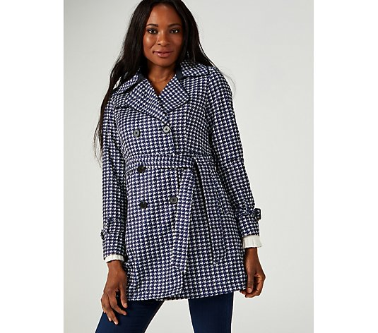 Centigrade Houndstooth Trench Coat