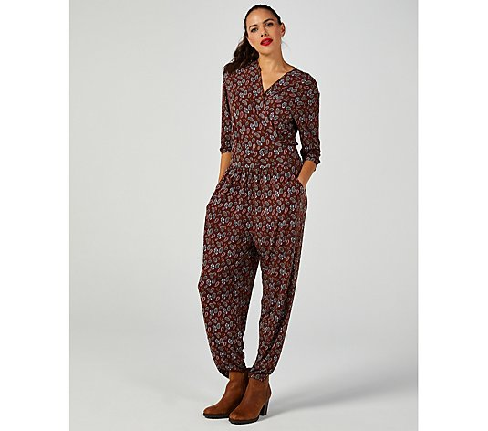 Kim & Co Mini Paisley Brazil Jersey 3/4 Sleeve Jumpsuit