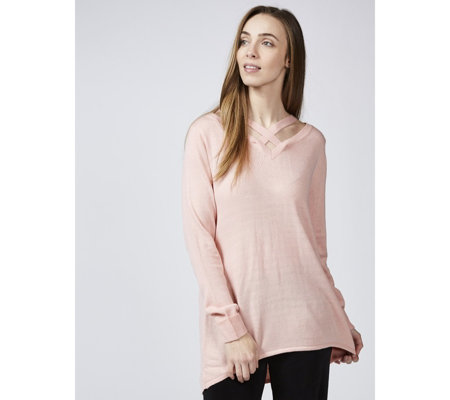 Cross Front Neckline Jumper by Michele Hope
