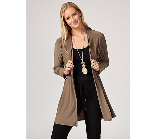MarlaWynne Matte Jersey Cardigan with Side Button Detail