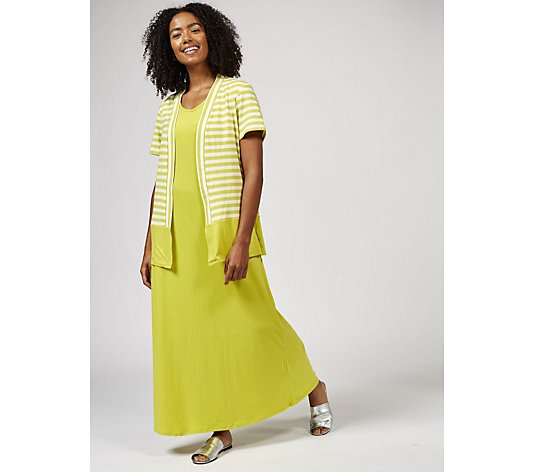Antthony Designs Striped Cardigan and Maxi Dress with Scoop Neck