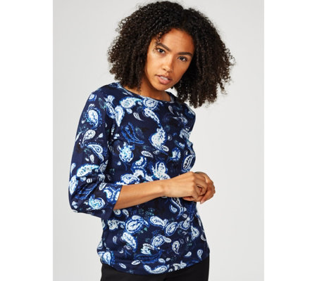 Artscapes 3/4 Sleeve Paisley Print Top