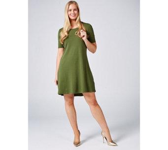 b16845805f3 Isaac Mizrahi Live Silky Pima Swing Dress with Cascade Hem Petite - 177542