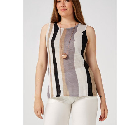 MarlaWynne Semi Sheer Stripe Knit Tank