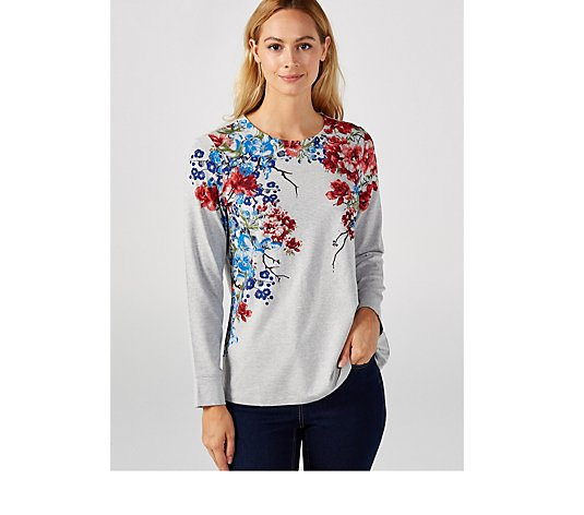 Denim & Co. Placement Print Jersey Long Sleeve Round Neck Top