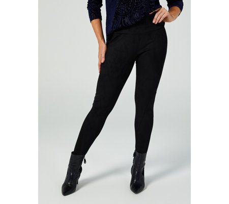 Women with Control Tummy Control Ponte Royale Leggings With Suede