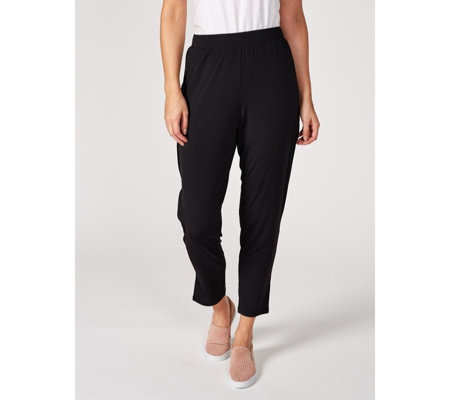 H by Halston Jet Set Jersey Ankle Trousers with Split Cuff Petite