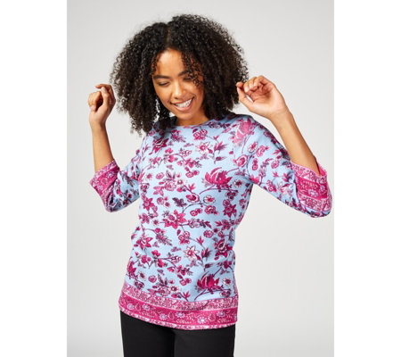 Artscapes 3/4 Sleeve Floral Print Top