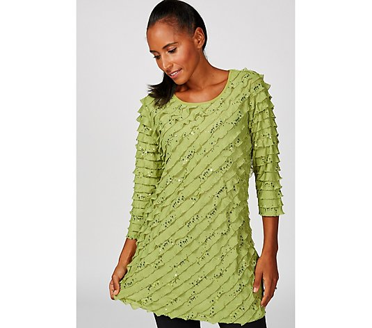 Antthony Designs Ruffle Front Tunic with Sequin Detail