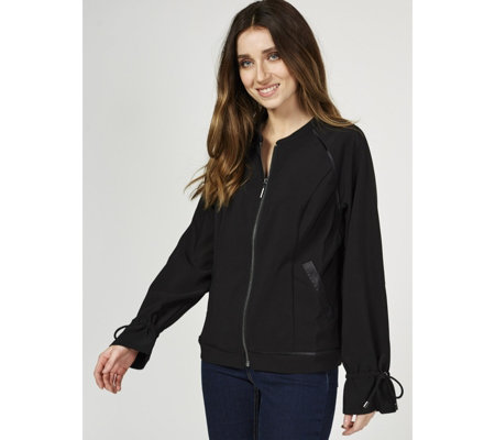 H by Halston Bomber Jacket with Drawstring Detail