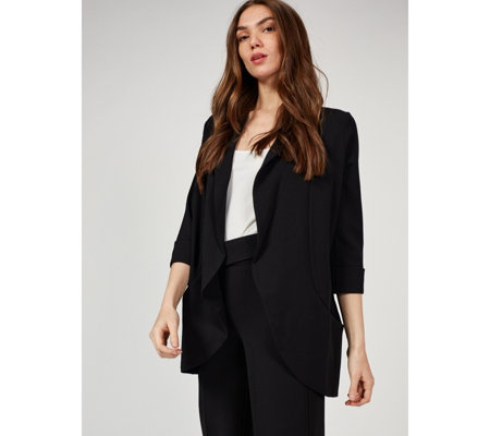 3/4 Cuff Sleeve Crepe Jacket by Nina Leonard