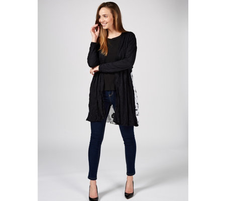 Yong Kim Drape Cardigan with Contrast Back Detail