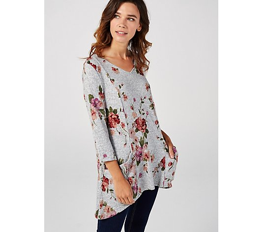 V Neck 3/4 Sleeve Soft Knit Sharkbite Hem Tunic by Nina Leonard