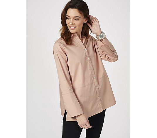 MarlaWynne Stretch Poplin Shirt with Sharkbite Hem