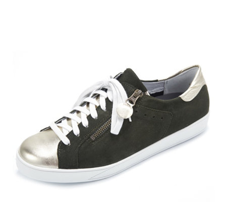 Vitaform Leather Lace up Trainer with Metallic Detail
