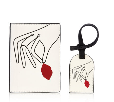 Lulu Guinness Patent PU Passport Holder Luggage Tag Set