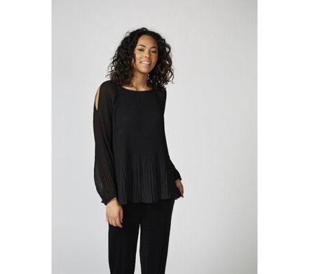 Woven Pleated Cold Shoulder Top by Susan Graver