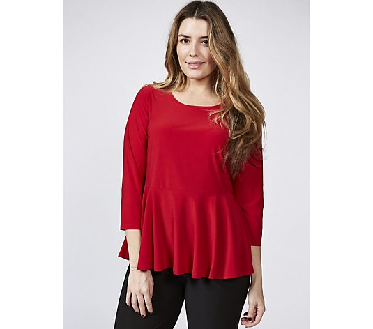Antthony Designs 3/4 Sleeve V Neck Peplum Top