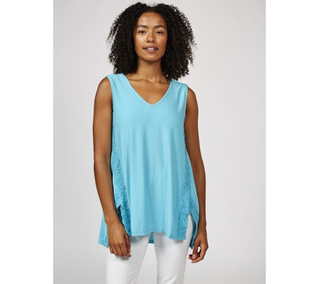Antthony Designs Lace Trim Sleeveless Top with Hi Lo Hem