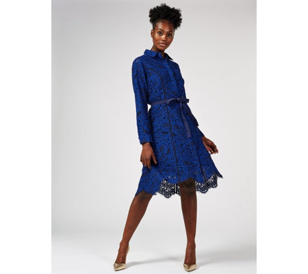 Isaac Mizrahi Live Lace Shirt Dress with Ribbon Tie