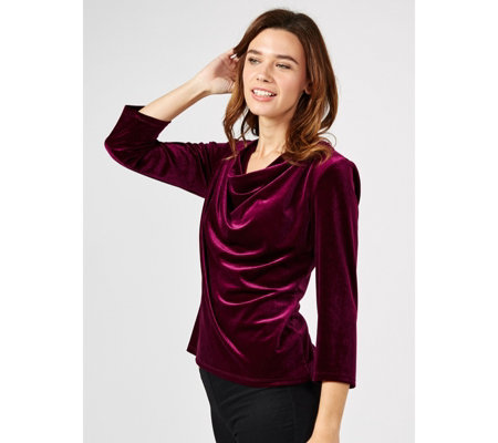 Coco Bianco 3/4 Sleeve Velvet Top with Draped Neckline