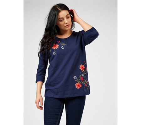 Denim & Co. French Terry Scoop Neck 3/4 Sleeve Top with Embroidery