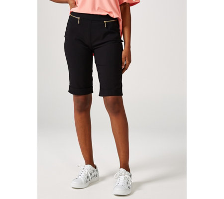 Cuffed Pull On Bermuda Shorts with Zips by Nina Leonard
