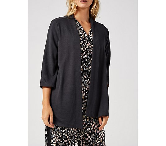 Kim & Co Soft Touch 3/4 Sleeve Cardigan with Side Slits