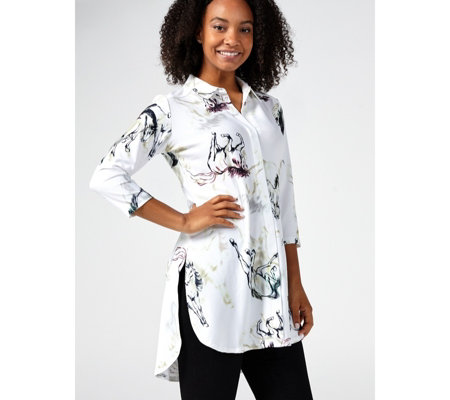 Attitudes by Renee 3/4 Sleeve Como Jersey Printed Blouse Petite